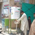 PADO installed temporary handwashing stations at public places for promotion of good hygienic habits and hand washing